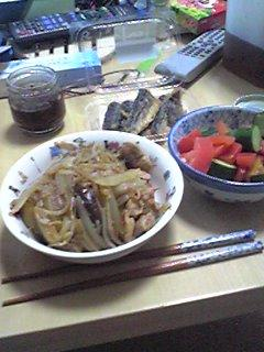 @my_yusaki @Yoko00Yuri @hakuouki_th夕飯報告!豚と野菜の生姜焼炒め・トマトと