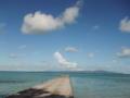 朝の西桟橋向こうに見えるのは、小浜島と西表島だよ(//∇//)沖縄の景