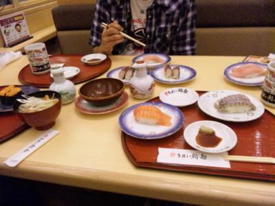 少しお高い回転寿司〜!写っている人が奢ってくれる人☆