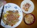 今日の昼飯:焼きうどん+冷奴+味噌汁