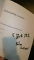懇親会で持ってきたsymfony本にファビアンさんのサインをもらった。漢