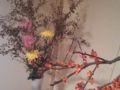 [今週の花]枝:蔓梅もどき、雲龍柳、紅葉/花:嵯峨菊、パスタ(新種の菊)。電車
