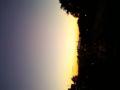 大学から。夕焼けの富士山