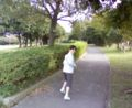 jogging with my daughter in the port park Chiba.