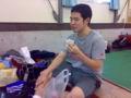 小長谷選手は選手手帳を忘れたため、本人確認に手間取りました。
