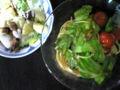 キャベツのアンチョビスパとサラダ♪ うまかった。 クルトン作ってみ
