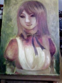 油絵の具って意外と乾くの遅いんですね。下塗りの次の日にさらに色を