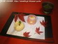 Autumn Japanese style confectionery. With the momiji in my garden.