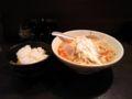 今日の夕ご飯。福島駅前のラーメン屋にて。ごま辛味のスープと極太麺