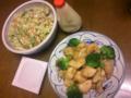 夕飯はチキン南蛮、我家流コールスローサラダ、納豆。