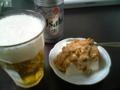 納豆豆腐で飲酒中。