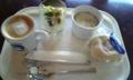 本日のランチ。スープあるからカヘオレはアイスにしとけばよかったわ