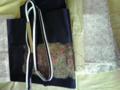 明日着る予定の着物。母は梅・松・紅葉・菊柄の着物に、紺ベースで玉