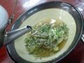ネギ山菜スープなう