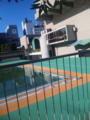 冬のプール…なんかシュール。夏場はあんなに賑やかなのにねえ!