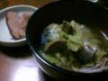 今日は鯖スープとハムステーキ(^ω^)