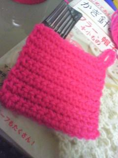 とりあえず新しい毛糸に慣れるために作ってみた簡単なやつ。ぼちぼち