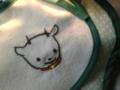 旦那さんが描いたキャラ「子やぎのメェメェ」を刺繍したスタイを作り