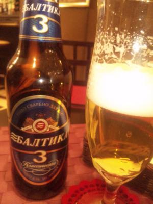 夫が早く帰ったのでロゴスキー・カフェに来た。珍しいロシア ビール