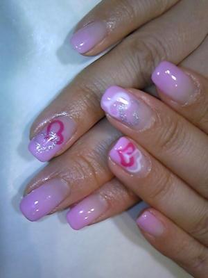 今月のカルジェルはバレンタインネイルvキュートなピンクをベースにTI