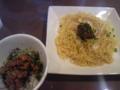 HAPPY DATE CAFE@西麻布 皿盛り納豆セット \900 皿盛りラーメンのセット #ram