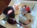 白石商事の白石専務と、みかづきでデザート盛り合わせ。和の甘味はい