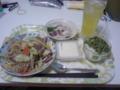 本日の晩酌セット。野菜炒め+真鯛のゆず〆+冷や奴。酒は緑茶ハイ。