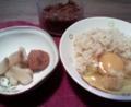 漬物と卵かけご飯。塩分強めな手抜き飯。マリアンヌはマリオ中。いた