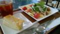 illy Barにて、スモークサーモンとルッコラのペンネサラダ。