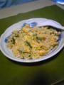 お昼はほうれん草の炒飯。翡翠炒飯もどきのもどき。