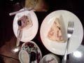 デザート。マロンミフィーユとミルクレープ。マンゴージュース。食い