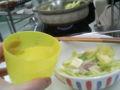 今日は豆乳もつ鍋。風邪が治りかけなので、お水で我慢。