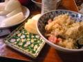 今日の夕飯は林檎と梨と炒飯とよくわからない野菜肉汁…ベースに醤油