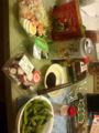 枝豆、たこぶつ、もずく酢、サラダ、八幡屋磯五郎の七味ごま。酵素増