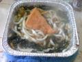お昼は鍋焼きうどんと、プロテイン(^^;