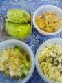 今日のお弁当。切干し大根・高野豆腐・人参・しいたけの炊いたん、ブ