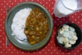 [ごはん]野菜カレー/キュウリとバナナのマヨ和え/ラッシー