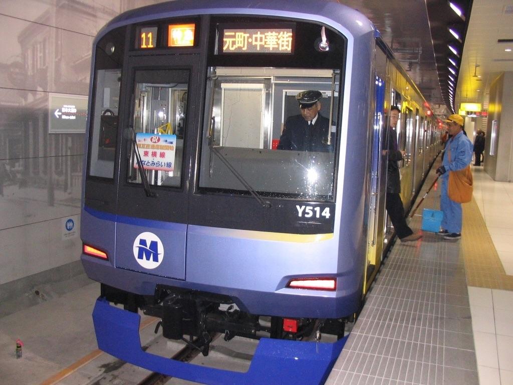 みなとみらい線開業直後のY514F@元町・中華街駅(2004/2/2)