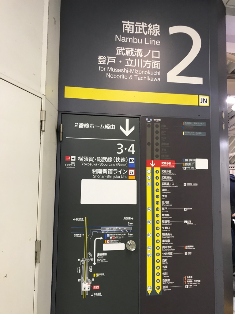 JR武蔵小杉駅南武線改札側 剥がすと完成する南武線側の案内表示(2019/11/25)