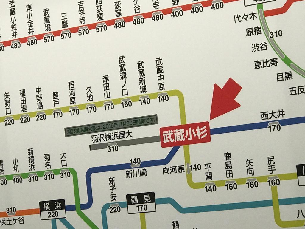 JR武蔵小杉駅運賃表 消費税改定時に既に出現していた新駅(2019/10/1)