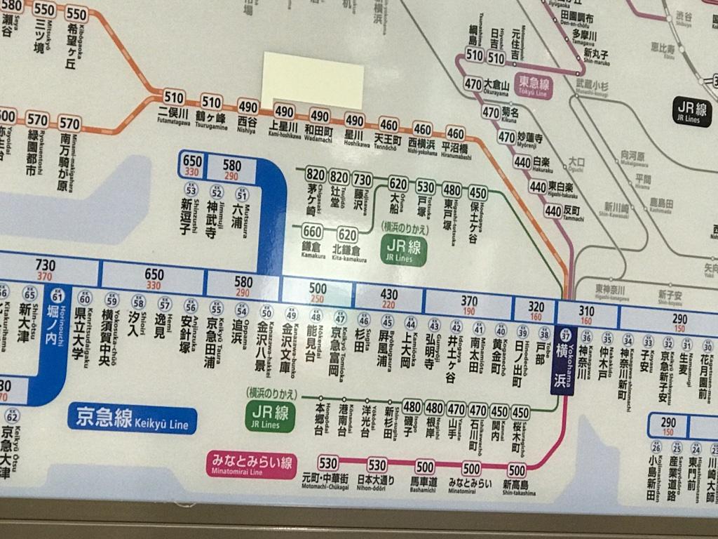 京急品川駅からの連絡運賃表 ここも剥がすと現れそうな駅が(2019/11/16)
