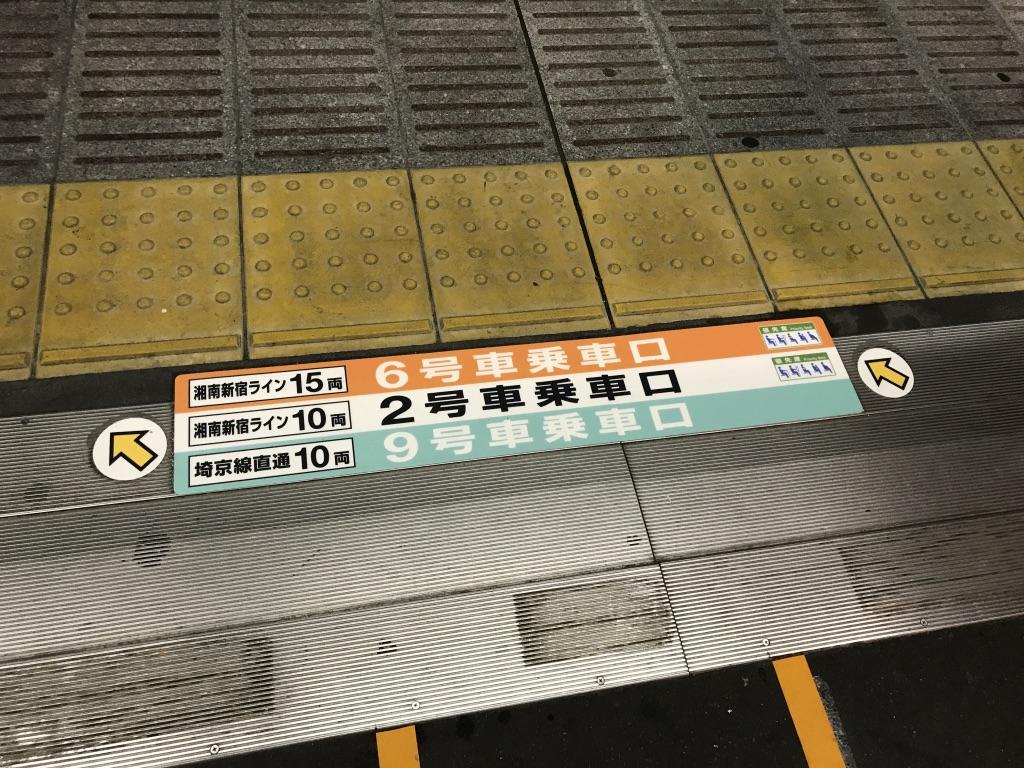 JR武蔵小杉駅4番線6・2・9号車乗車口(2019/11/26)