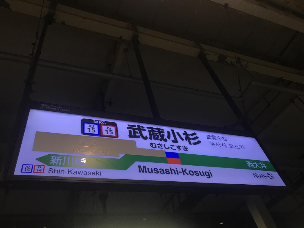 JR武蔵小杉駅3番線駅名標(2019/11/24)