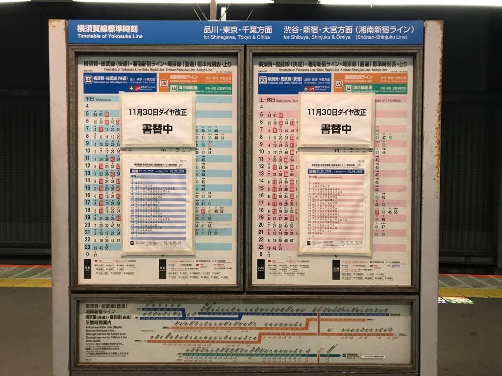 JR武蔵小杉駅4番線 ダイヤ改正書換中(2019/11/28)