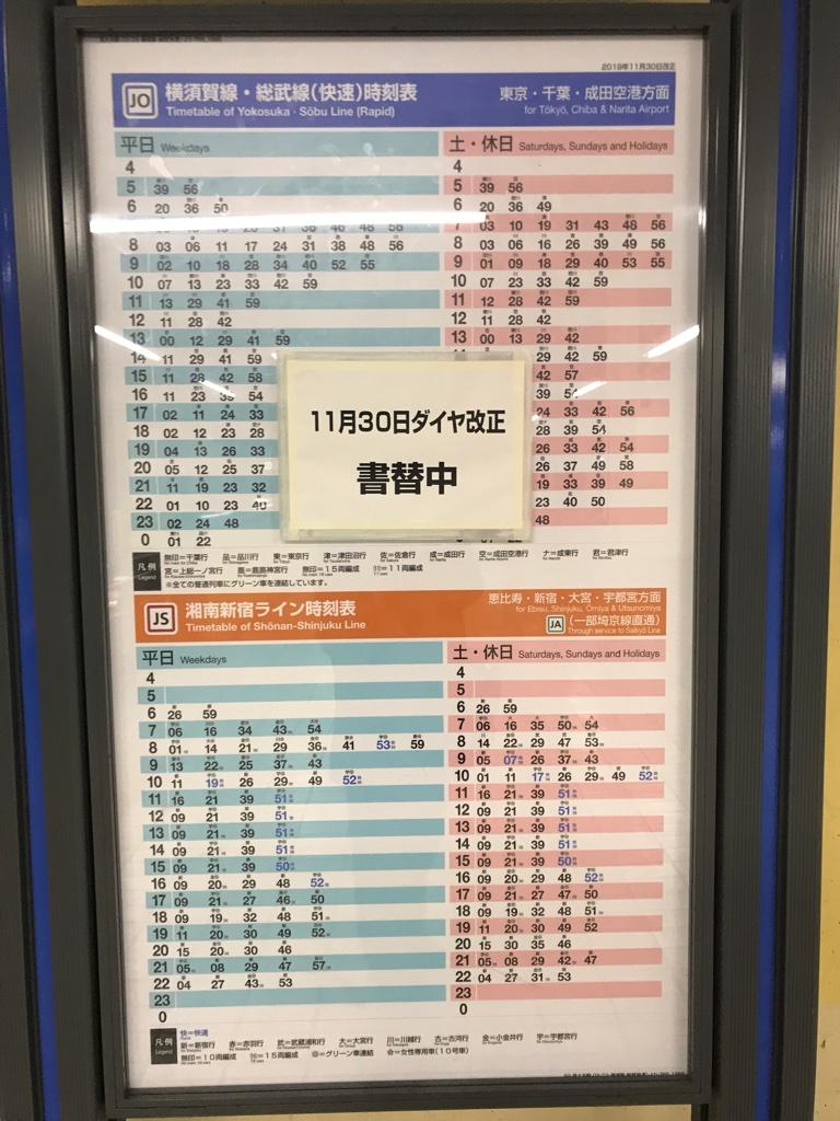 JR西大井駅上り新ダイヤ