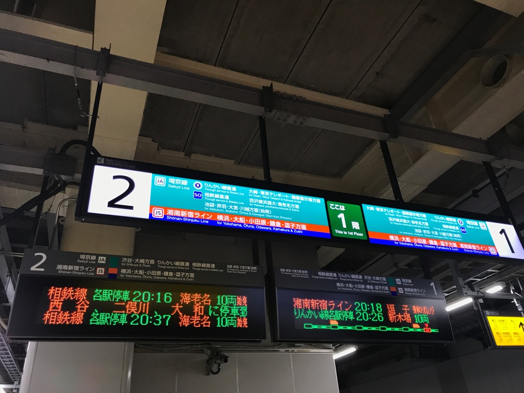 JR新宿駅1・2番線案内