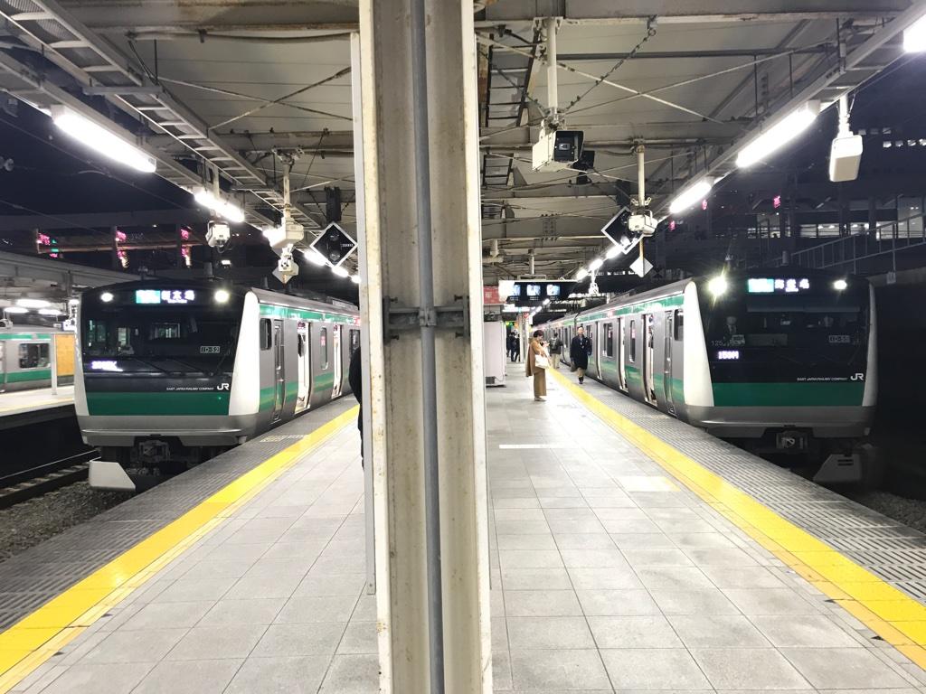 大崎駅6番線の新木場行き・5番線の海老名行き