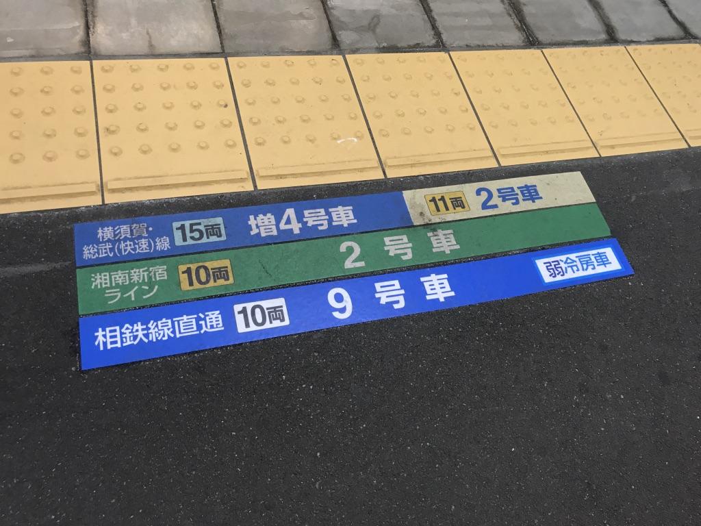 西大井駅下り1番線の乗車位置案内(相鉄線直通9号車)