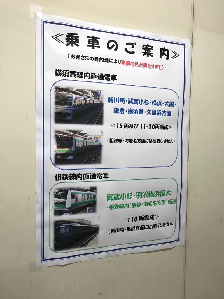 西大井駅下り1番線の<乗車のご案内>