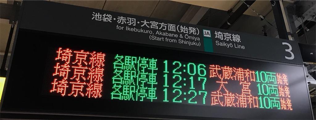 新宿駅3番線の発車時刻案内